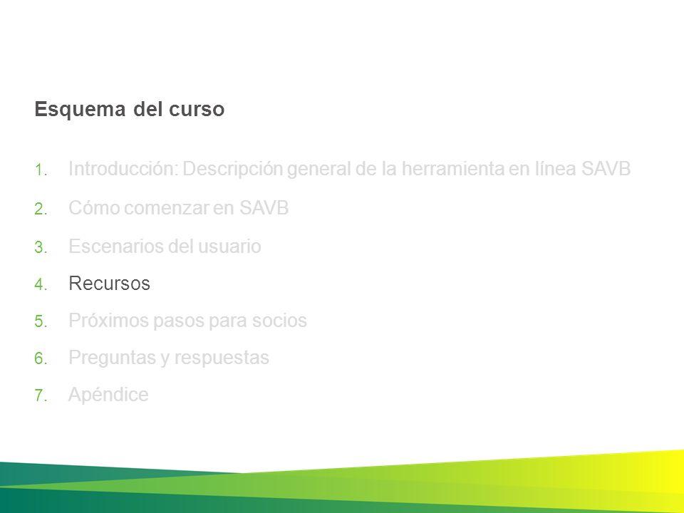 Esquema del curso Introducción: Descripción general de la herramienta en línea SAVB. Cómo comenzar en SAVB.