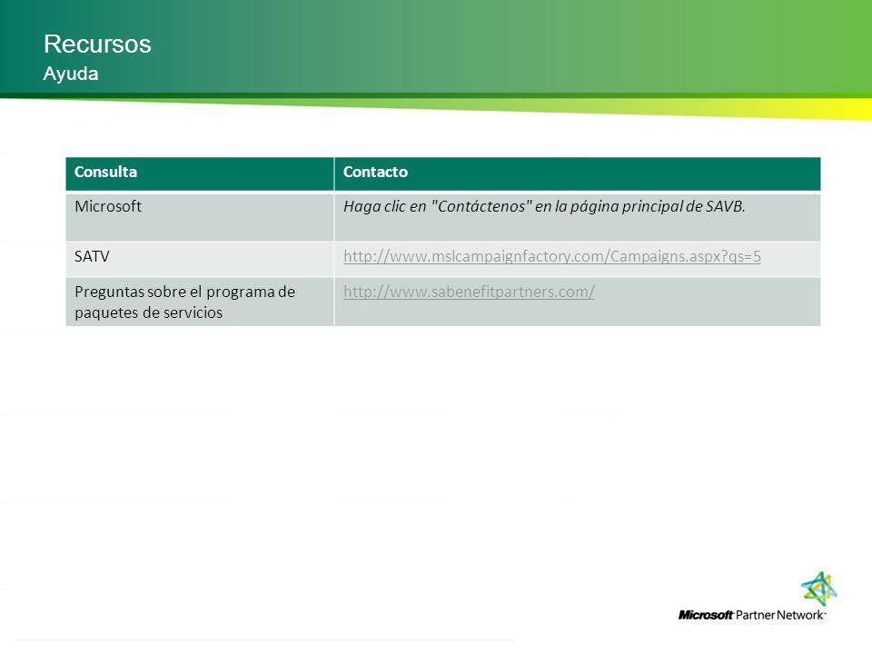 Recursos Ayuda Consulta Contacto Microsoft