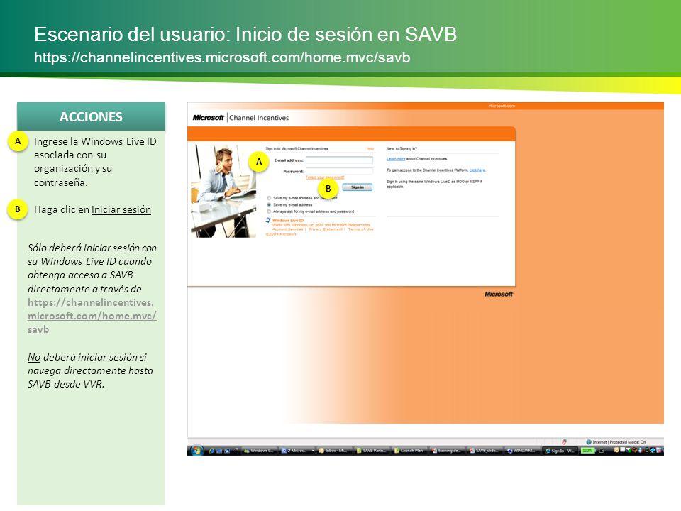 Escenario del usuario: Inicio de sesión en SAVB