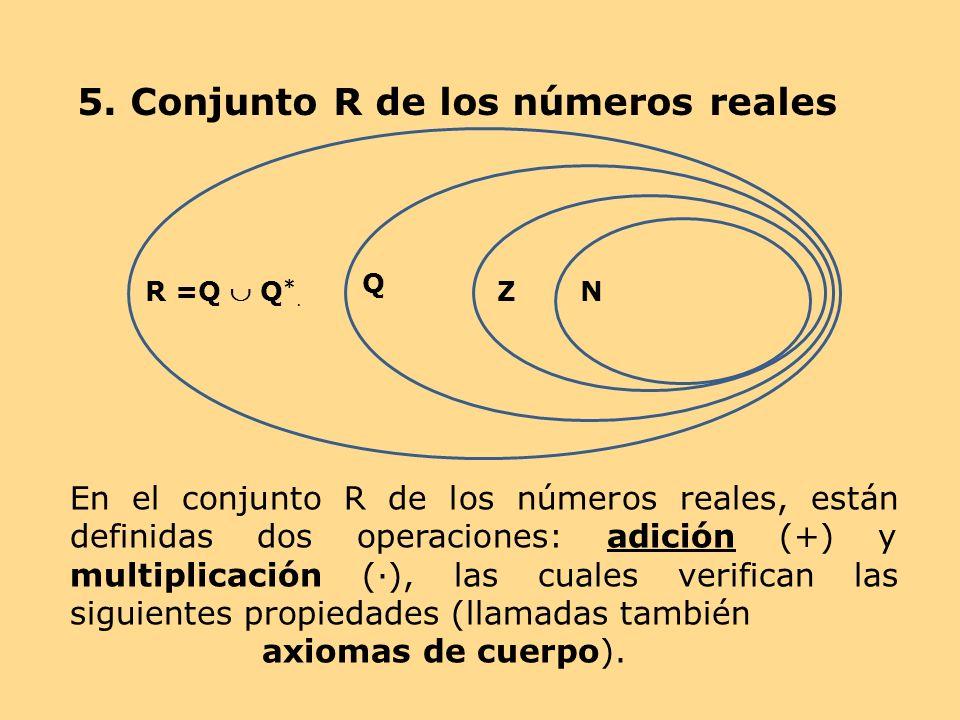 5. Conjunto R de los números reales