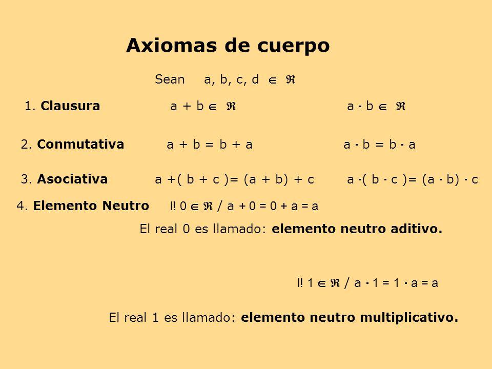 Axiomas de cuerpo Sean a, b, c, d   1. Clausura a + b   a  b  