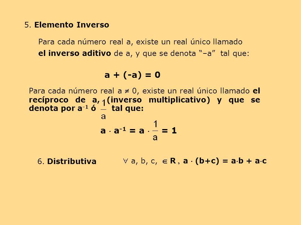 a + (-a) = 0 a  a-1 = a  = 1 5. Elemento Inverso