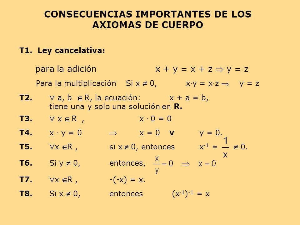 para la adición x + y = x + z  y = z