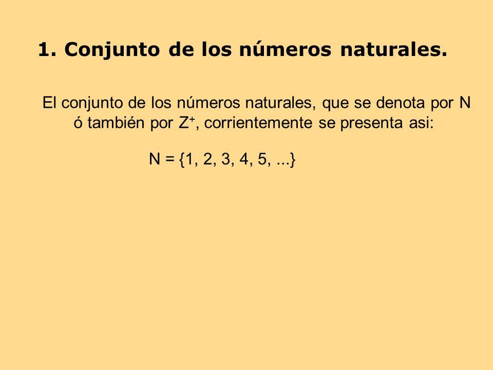 1. Conjunto de los números naturales.