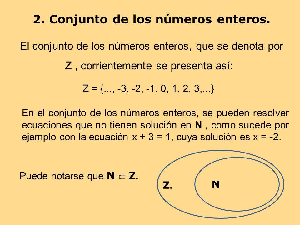 2. Conjunto de los números enteros.