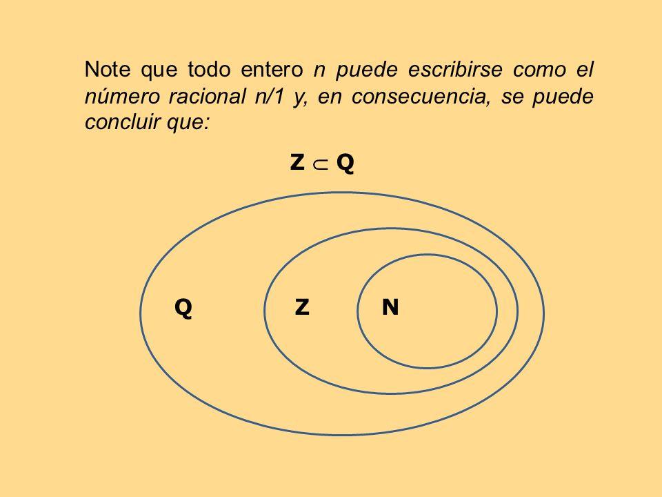 Note que todo entero n puede escribirse como el número racional n/1 y, en consecuencia, se puede concluir que: