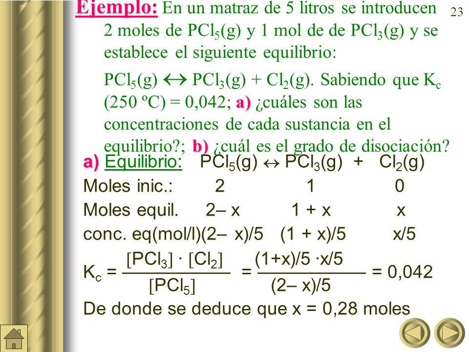 Ejemplo: En un matraz de 5 litros se introducen 2moles de PCl5(g) y 1 mol de de PCl3(g) y se establece el siguiente equilibrio: PCl5(g)  PCl3(g) + Cl2(g). Sabiendo que Kc (250 ºC) = 0,042; a) ¿cuáles son las concentraciones de cada sustancia en el equilibrio ; b) ¿cuál es el grado de disociación