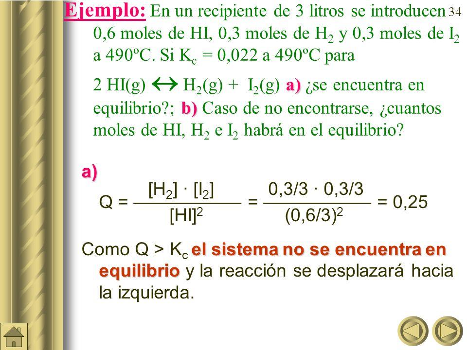 Ejemplo: En un recipiente de 3 litros se introducen 0,6 moles de HI, 0,3 moles de H2 y 0,3 moles de I2 a 490ºC. Si Kc = 0,022 a 490ºC para 2 HI(g)  H2(g) + I2(g) a) ¿se encuentra en equilibrio ; b) Caso de no encontrarse, ¿cuantos moles de HI, H2 e I2 habrá en el equilibrio