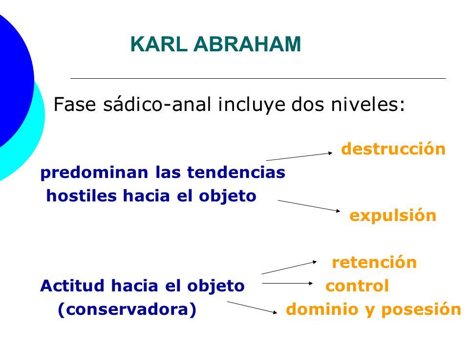 KARL ABRAHAM Fase sádico-anal incluye dos niveles: destrucción