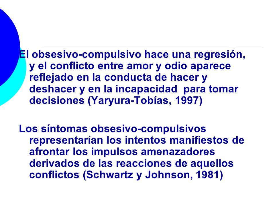 El obsesivo-compulsivo hace una regresión, y el conflicto entre amor y odio aparece reflejado en la conducta de hacer y deshacer y en la incapacidad para tomar decisiones (Yaryura-Tobías, 1997)