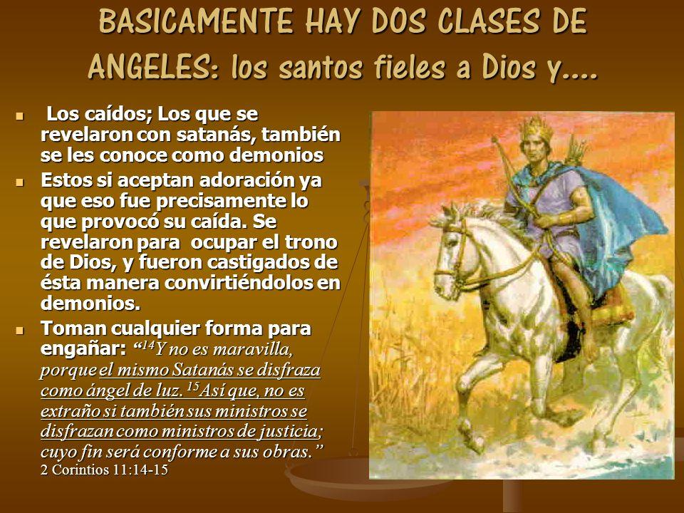 BASICAMENTE HAY DOS CLASES DE ANGELES: los santos fieles a Dios y....