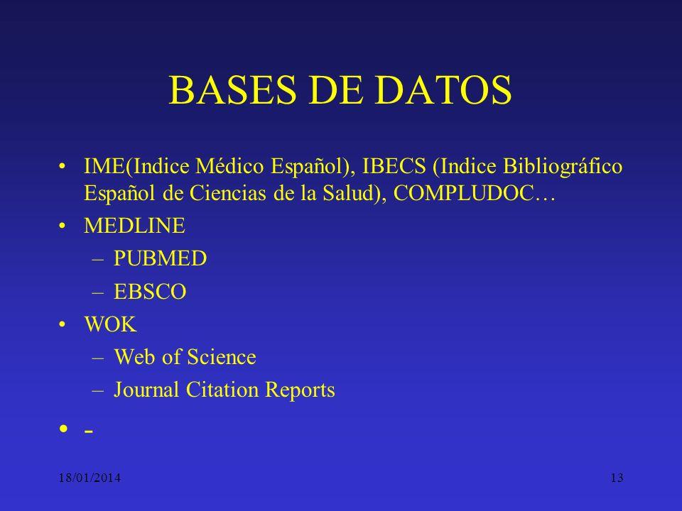 BASES DE DATOS IME(Indice Médico Español), IBECS (Indice Bibliográfico Español de Ciencias de la Salud), COMPLUDOC…
