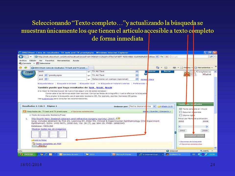 Seleccionando Texto completo… y actualizando la búsqueda se muestran únicamente los que tienen el artículo accesible a texto completo de forma inmediata