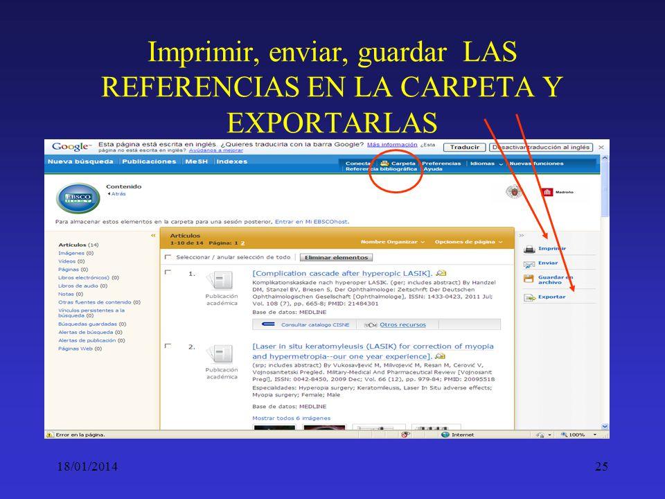 Imprimir, enviar, guardar LAS REFERENCIAS EN LA CARPETA Y EXPORTARLAS
