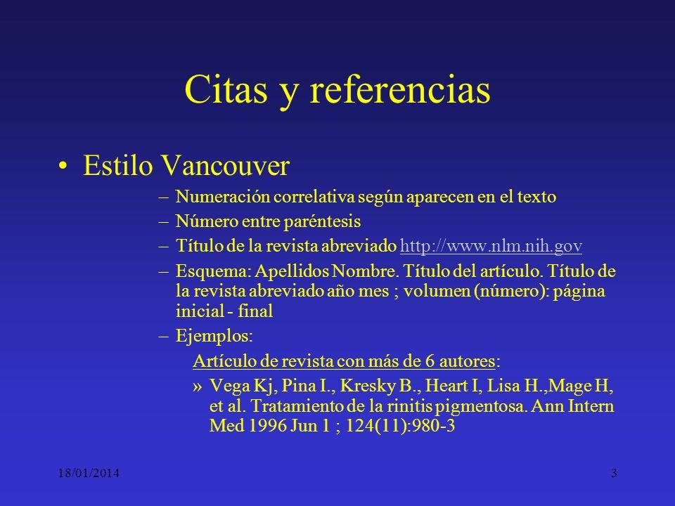 Citas y referencias Estilo Vancouver
