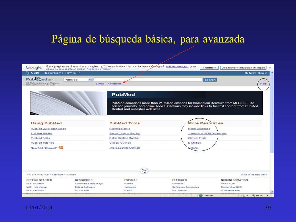 Página de búsqueda básica, para avanzada
