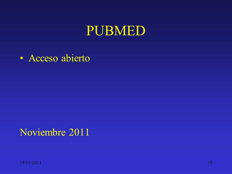 PUBMED Acceso abierto Noviembre 2011 24/03/2017
