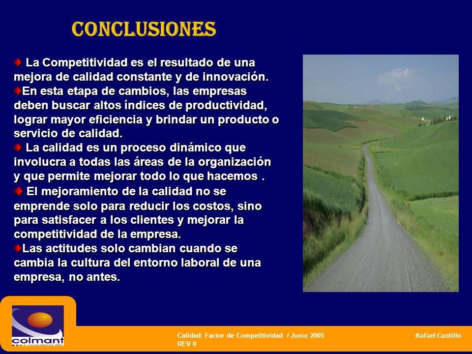 CONCLUSIONES La Competitividad es el resultado de una mejora de calidad constante y de innovación.