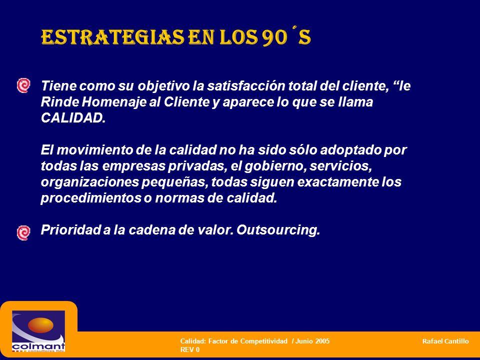 Estrategias en los 90´s Tiene como su objetivo la satisfacción total del cliente, le Rinde Homenaje al Cliente y aparece lo que se llama CALIDAD.