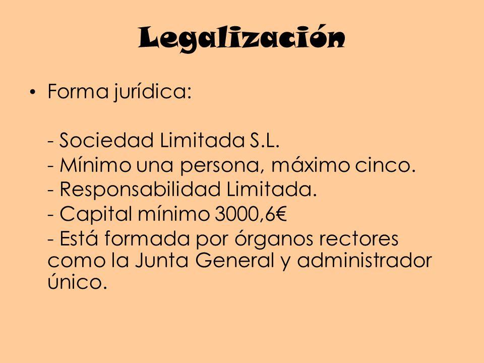 Legalización Forma jurídica: - Sociedad Limitada S.L.