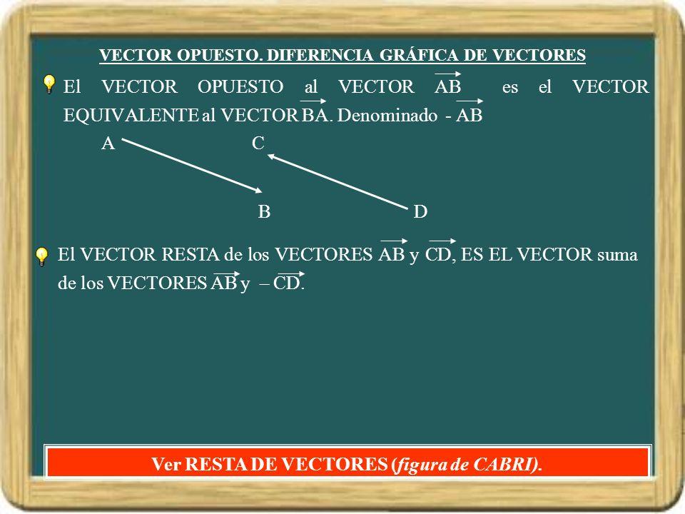 VECTOR OPUESTO. DIFERENCIA GRÁFICA DE VECTORES