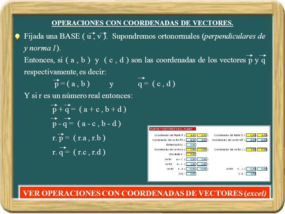 OPERACIONES CON COORDENADAS DE VECTORES.