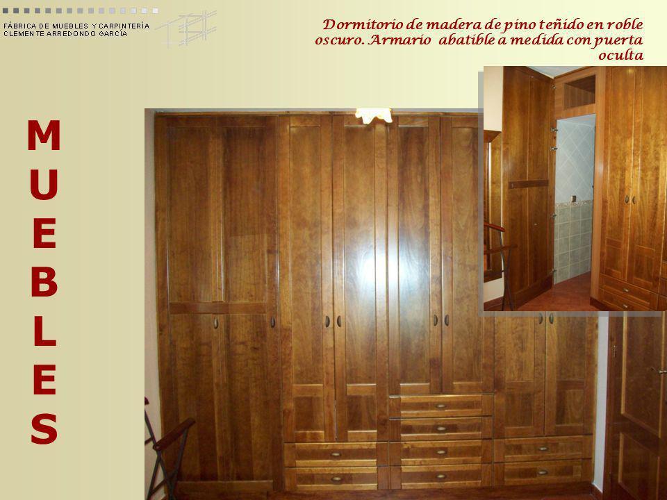 Dormitorio de madera de pino teñido en roble oscuro