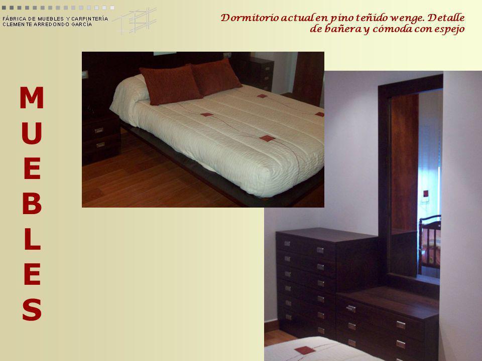 Dormitorio actual en pino teñido wenge