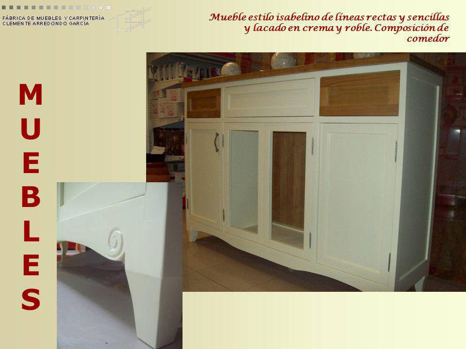 Mueble estilo isabelino de líneas rectas y sencillas y lacado en crema y roble. Composición de comedor