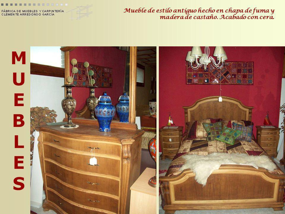 Mueble de estilo antíguo hecho en chapa de fuma y madera de castaño
