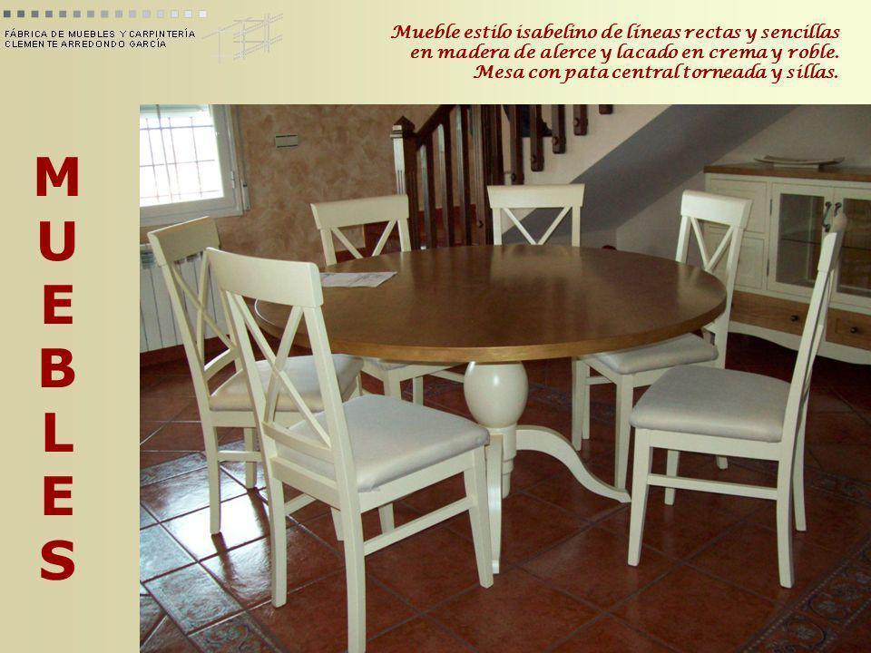 Mueble estilo isabelino de líneas rectas y sencillas en madera de alerce y lacado en crema y roble. Mesa con pata central torneada y sillas.