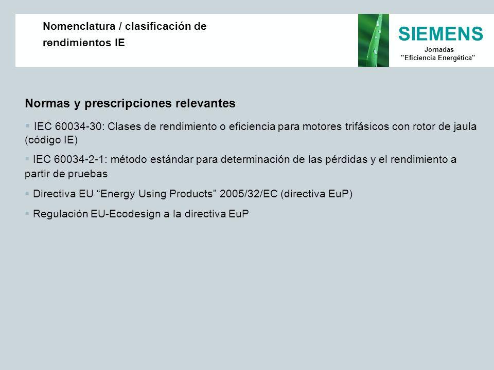 Nomenclatura / clasificación de rendimientos IE