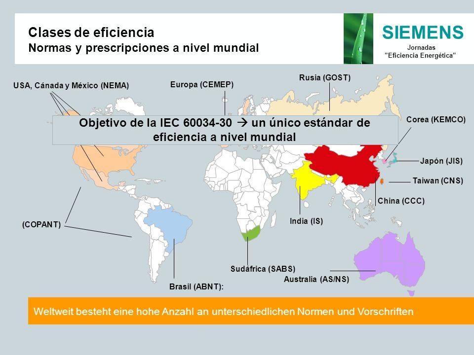 Clases de eficiencia Normas y prescripciones a nivel mundial