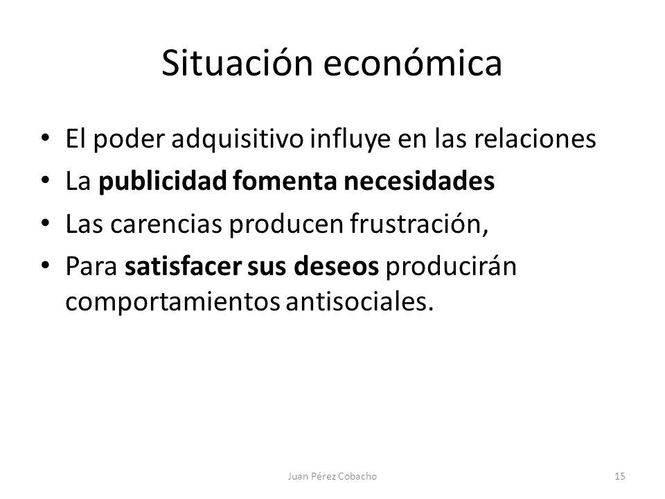 Situación económica El poder adquisitivo influye en las relaciones