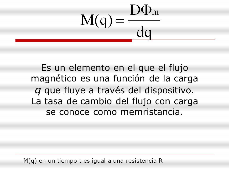 Es un elemento en el que el flujo magnético es una función de la carga q que fluye a través del dispositivo. La tasa de cambio del flujo con carga se conoce como memristancia.
