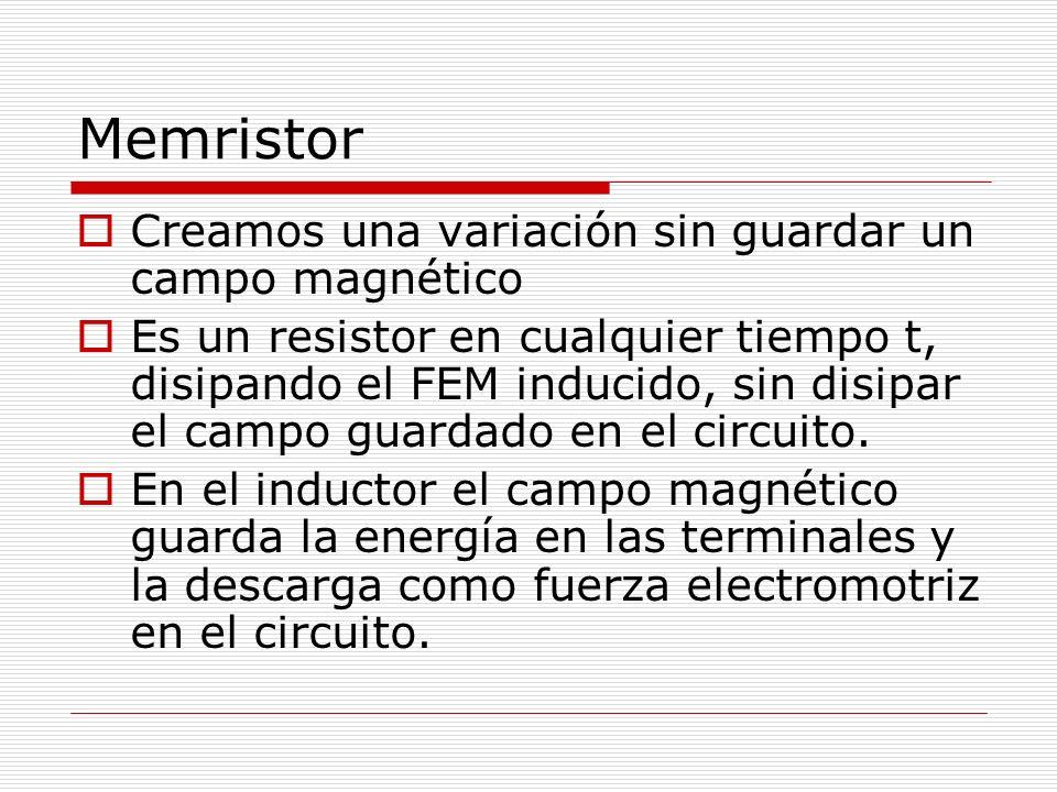 Memristor Creamos una variación sin guardar un campo magnético