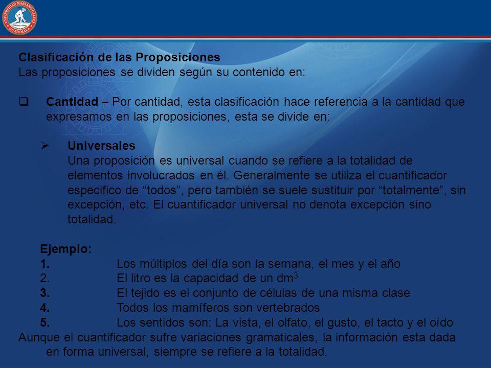 Clasificación de las Proposiciones