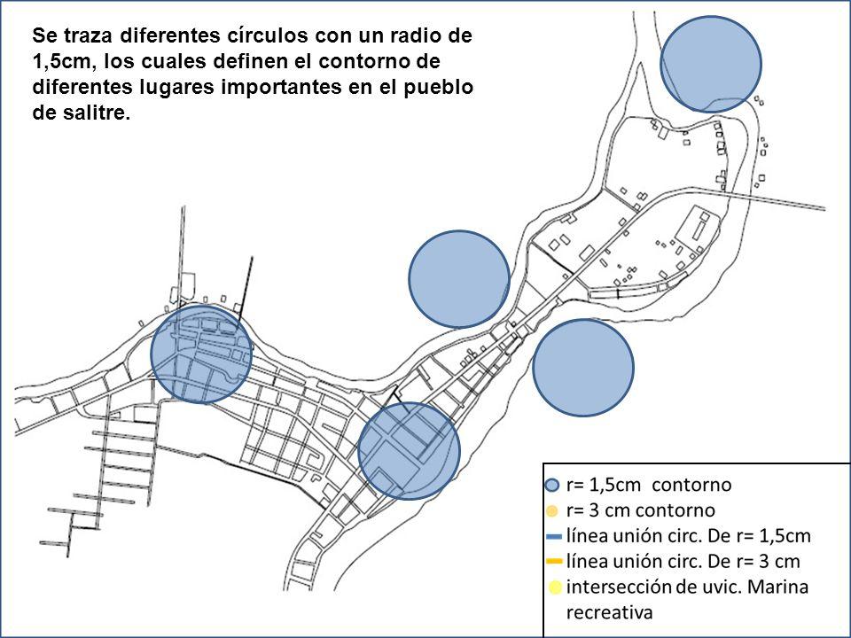 Se traza diferentes círculos con un radio de 1,5cm, los cuales definen el contorno de diferentes lugares importantes en el pueblo de salitre.
