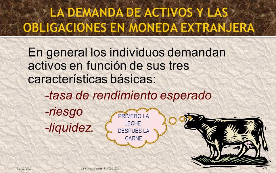 LA DEMANDA DE ACTIVOS Y LAS OBLIGACIONES EN MONEDA EXTRANJERA