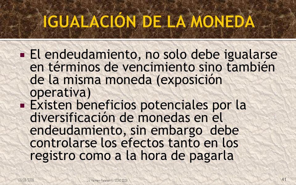 IGUALACIÓN DE LA MONEDA