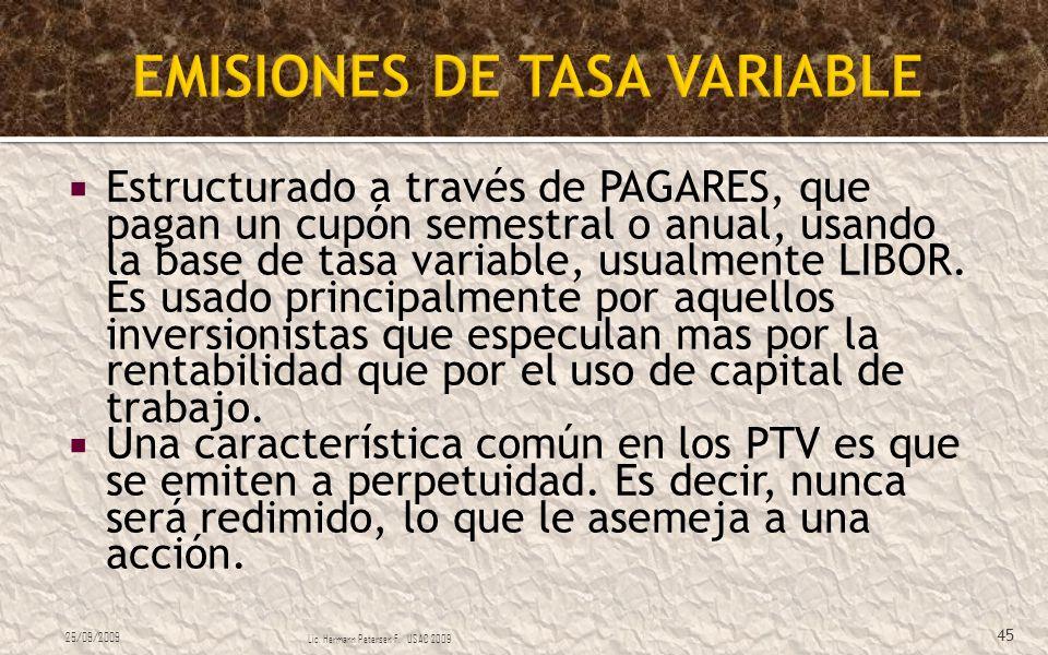 EMISIONES DE TASA VARIABLE
