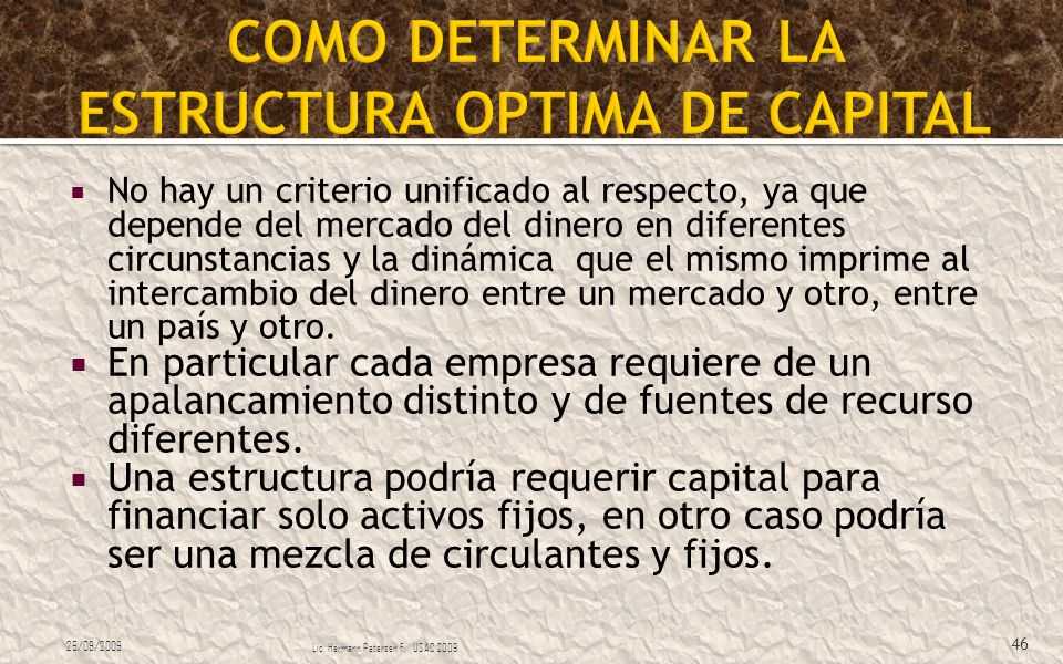 COMO DETERMINAR LA ESTRUCTURA OPTIMA DE CAPITAL