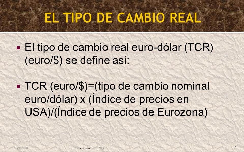 EL TIPO DE CAMBIO REAL El tipo de cambio real euro-dólar (TCR) (euro/$) se define así: