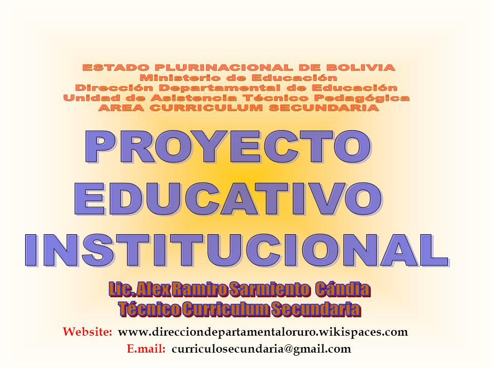 ESTADO PLURINACIONAL DE BOLIVIA Ministerio de Educación
