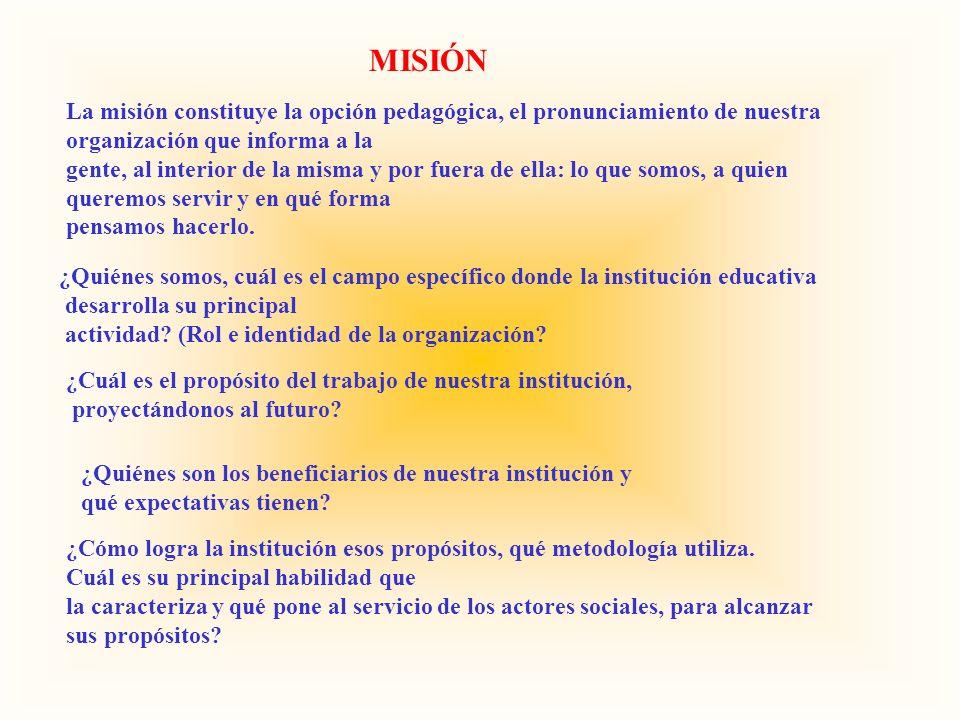 MISIÓN La misión constituye la opción pedagógica, el pronunciamiento de nuestra. organización que informa a la.