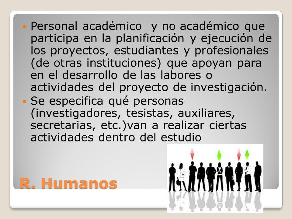 Personal académico y no académico que participa en la planificación y ejecución de los proyectos, estudiantes y profesionales (de otras instituciones) que apoyan para en el desarrollo de las labores o actividades del proyecto de investigación.