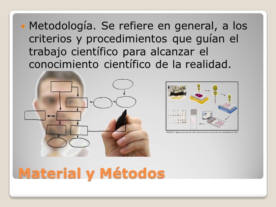 Metodología. Se refiere en general, a los criterios y procedimientos que guían el trabajo científico para alcanzar el conocimiento científico de la realidad.