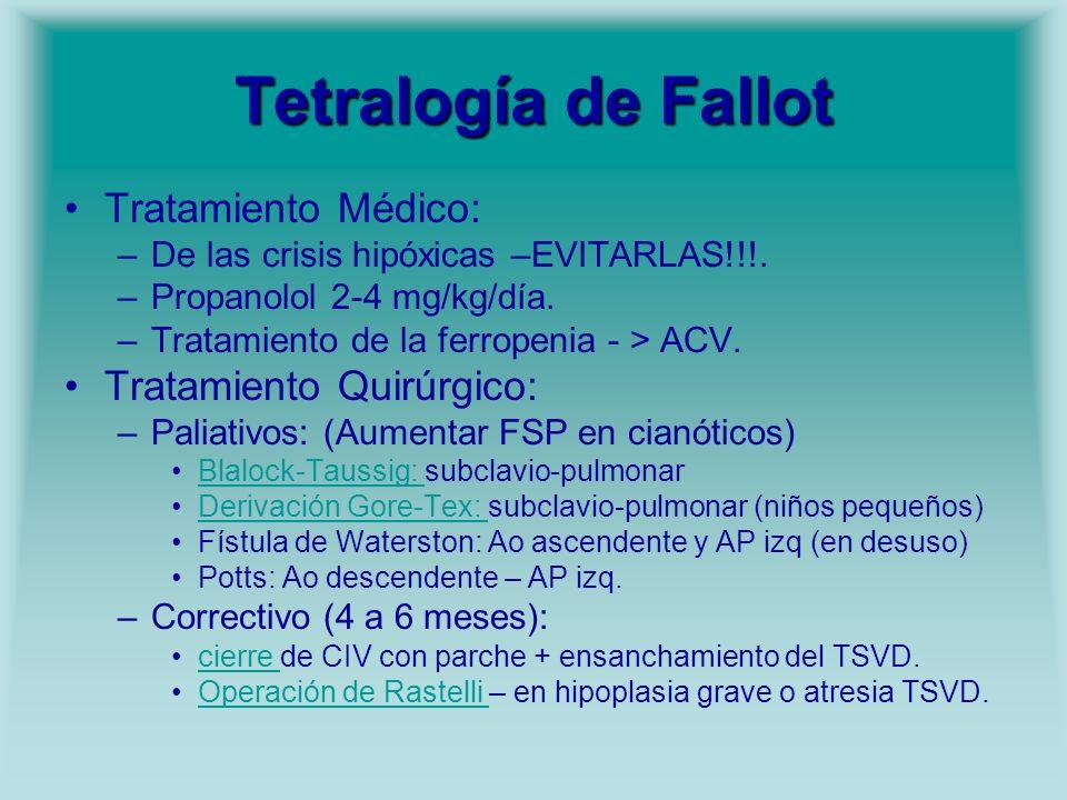 Tetralogía de Fallot Tratamiento Médico: Tratamiento Quirúrgico: