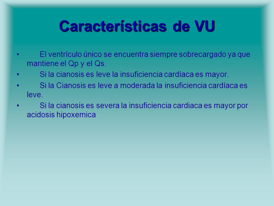 Características de VU El ventrículo único se encuentra siempre sobrecargado ya que mantiene el Qp y el Qs.