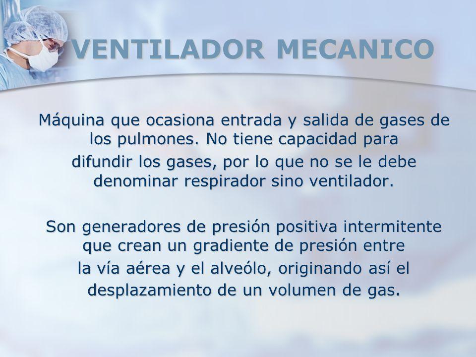 VENTILADOR MECANICO Máquina que ocasiona entrada y salida de gases de los pulmones. No tiene capacidad para.